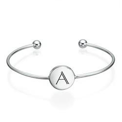 Initial Bangle Bracelet - Sterling Silver - Adjustable product photo