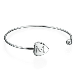 Personalized Bangle Bracelet in Silver - Adjustable product photo