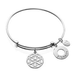 Silver Bangle Bracelet with Arabesque Charm product photo