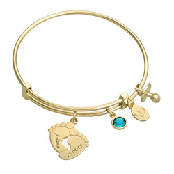 Baby Feet Bangle Bracelet with Gold Plating product photo