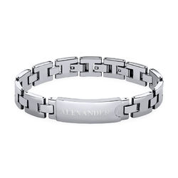Stainless Steel Men's Bracelet with Engraving product photo