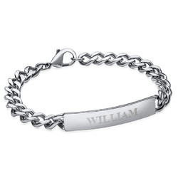 Heavy Curb ID Bracelet for Men in Stainless Steel product photo