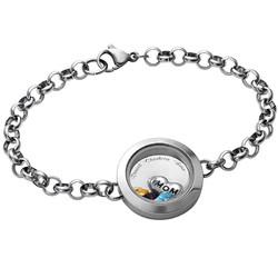 Engraved Floating Locket Stainless Steel Bracelet for Mom or Grandma product photo