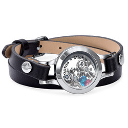 Mother Floating Locket Leather Bracelet with Children Charms product photo