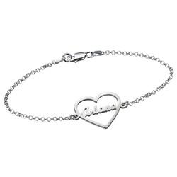 Heart Bracelet with Name in Silver product photo