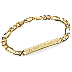 Cuban Curb Coordinates Bar Bracelet for Men in Gold Plating product photo