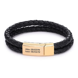 Engraved Bracelet for Men in Black Leather and Gold Plating product photo