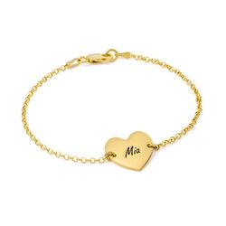 Gold Vermeil Engraved Heart Couples Bracelet product photo