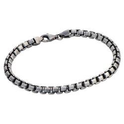 Box Chain Bracelet for Men in Black Silver product photo