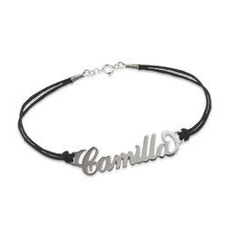 Silver Name Bracelet with Leather Style Cord product photo