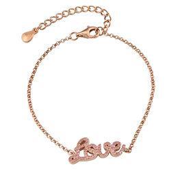 Love Adjustable Inspirational Bracelet in Rose Gold Plating product photo