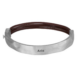 Half Cuff Bracelet in Silver with Brown Leather Cords product photo