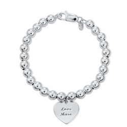 Engraved Heart Charm Beaded Bracelet in Sterling Silver product photo
