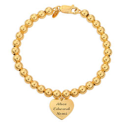 Engraved Heart Charm Beaded Bracelet in Gold Plating product photo