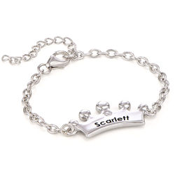 Princess Crown Bracelet for Girls with Cubic Zirconia in Sterling product photo