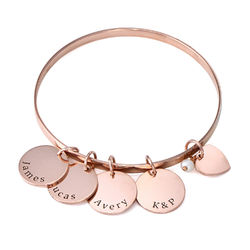Bangle Bracelet with Personalized Pendants in Rose Gold Plating product photo