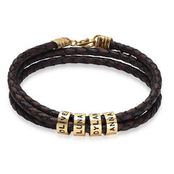 Men Braided Brown Leather Bracelet with Small Custom Beads in Gold product photo
