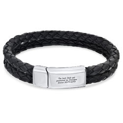 Engraved Bracelet for Men in Stainless Steel and Black Leather product photo