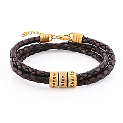 Women Braided Brown Leather Bracelet with Custom Beads in Gold Plating product photo
