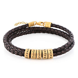 Women Braided Brown Leather Bracelet with Custom Beads in Vermeil product photo