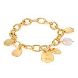 Personalized Round Chain Link Bracelet with Engraved Charms in 18K product photo