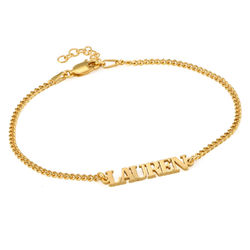 Name Bracelet / Anklet with Capital Letters in 18K Gold Vermeil product photo
