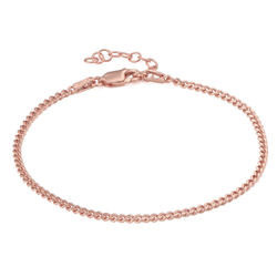 Tiny Cuban Chain Bracelet in 18K Rose Gold Plating product photo