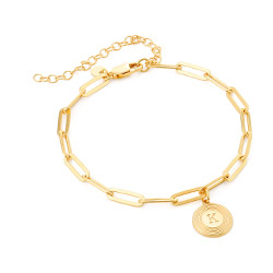 Odeion Initial Link Chain Bracelet / Anklet in 18k Gold Plating product photo