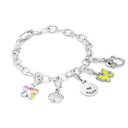 Link Charm Bracelet for Girls in Sterling Silver product photo