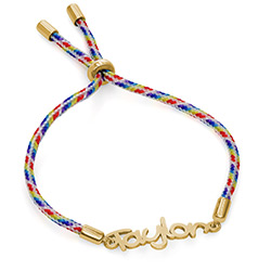 Name Cord Bracelet for Kids in Gold Plating product photo
