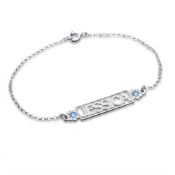 Cut Out Name Bracelet with Birthstones product photo