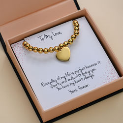 Heart Charm Beaded Bracelet in Gold Plating with Prewritten Gift Note product photo