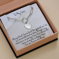 Heart Pendant Link Bracelet in Sterling Silver with Prewritten Gift product photo