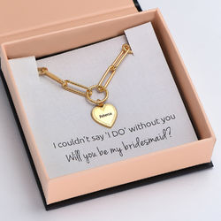 Please Be My Bridesmaid - Link Bracelet With Engraved Heart Pendant product photo
