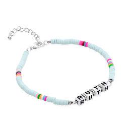 Tidal Wave Custom Beaded Name Bracelet in Sterling Silver product photo