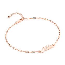 Custom Paperclip Name Bracelet/Anklet in Rose Gold Plating product photo
