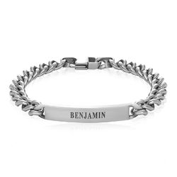 Men's Curb Chain ID Bracelet in Matte Stainless Steel product photo