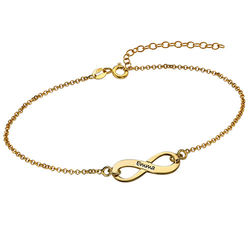 18k Gold Plated Engraved Infinity Bracelet product photo