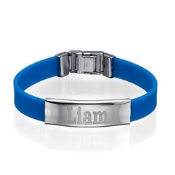 Men's Personalized Metal Buckle Rubber Bracelet product photo