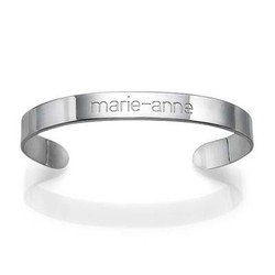 Engraved Cuff Bracelet in Silver product photo