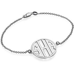 Block Letter Monogram Bracelet in Silver product photo