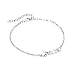 Cursive Name Bracelet in Sterling Silver with Diamond product photo