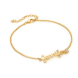 Cursive Name Bracelet in Gold Plating with Diamond product photo