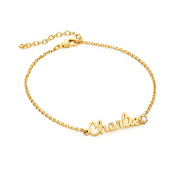 Cursive Name Bracelet in Gold Vermeil with Diamond product photo