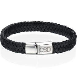 Thick Woven Black Leather Initials Bracelet for Men product photo