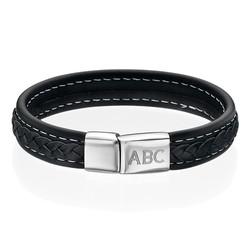 Men's Black Leather Initial Bracelet product photo
