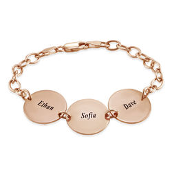 Special Gift for Mom - Disc Name Bracelet with 18K Rose Gold Plating product photo