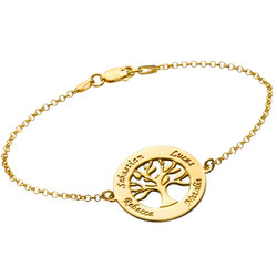 Family Tree Bracelet with Engraving - Gold Plated product photo