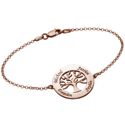 Family Tree Bracelet with Engraving - Rose Gold Plated product photo