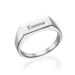 Engraved Signet Ring in Sterling Silver product photo